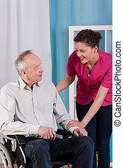 不具, 車椅子, 看護婦, 人