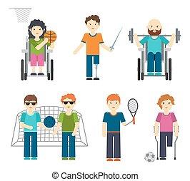 不具, illustration., 人々, スポーツ, ハンディキャップを付けられる, ベクトル, スポーツ
