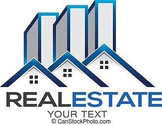不動産, 上昇, 高く, 家, ベクトル, デザイン, ロゴ