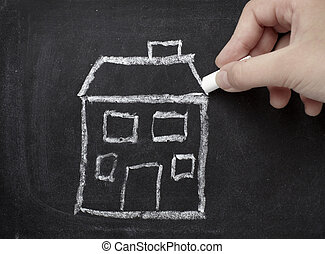 不動産, 家コンストラクション, 建築, 家, 黒板