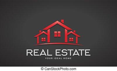 不動産, 家, ベクトル, デザイン, logo., 赤
