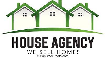 不動産, 家, ベクトル, 緑, ロゴ