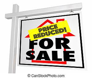 不動産, 家, 価格, セール, イラスト, 印, 家, 減らされる, 3d