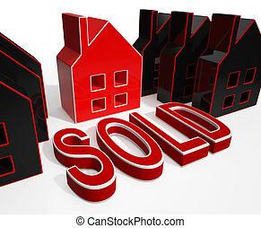 不動産, 家, 売られた, セール, ディスプレイ