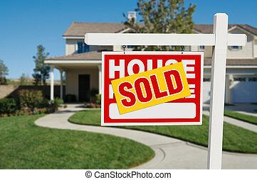 不動産, 家, 売られた, 販売サイン, 家