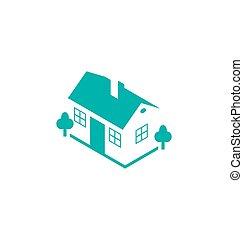 不動産, 家, 抽象的, 隔離された, 背景, デザイン, テンプレート, ロゴ, 白