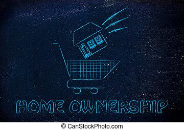 不動産, 市場, 家, 落ちた, に, 買い物カート