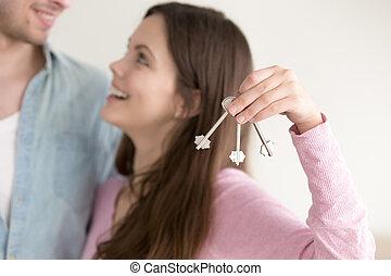 不動産, 概念, 恋人, キー, 所有権, 新しい 家