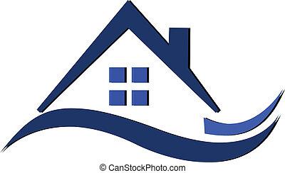 不動産, 青, 波状, 家, ロゴ