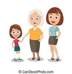 不同, 妇女, 年龄, 放置, 祖母。, 孩子, 代