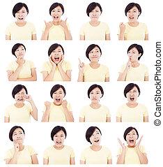 不同, 婦女, 年輕, 亞洲人, 面部, 做, 表示