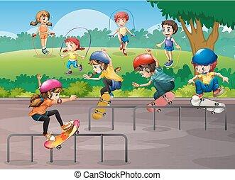 不同, 孩子, 公園, 玩, 運動