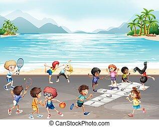 不同, 孩子, 種類, 運動, 海, 玩