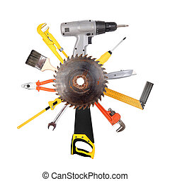 不同, 工具, 拼貼藝術, 被隔离, 在懷特上, 背景