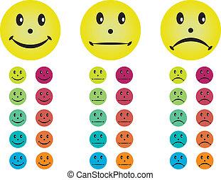 不同, 愉快, 不快樂, 中立, smileys, colors.