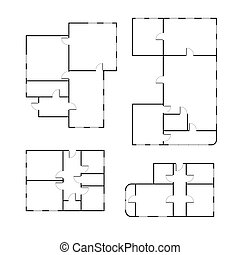 不同, 放置, 计划, 地板, 房子, 隔离, 黑色, 白色