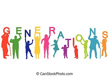 不同, 概念, 年龄, 代, 人们