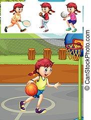 不同, 玩, 女孩, 類型, 運動