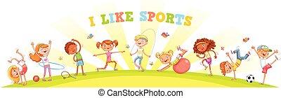不同, 種類, 自然, 參與, 運動, 背景, 孩子