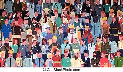 不同, 組, 人們, 集合, 雇員, 混合, 比賽, 旗幟, 工人, 職業