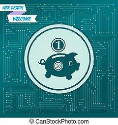 不同, 美元, 箭, it, 背景, 矢量, 绿色, 小猪, directions., board., 硬币, 电子, 出现, 银行, 图标