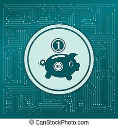 不同, 美元, 箭, it, 背景, 绿色, 小猪, directions., board., 硬币, 电子, 出现, 银行, 图标