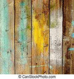 不同, 老, 栅栏, 木制, 涂描, 颜色, 背景