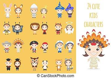 不同, 集合, 鮮艷, costumes., 孩子, 字符, 卡通