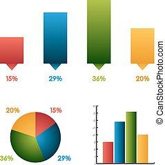 不同, 集合,  (charts),  3, 同樣, 圖, 顏色, 數据