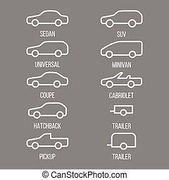 不同, 類型, ......的, 汽車, body.