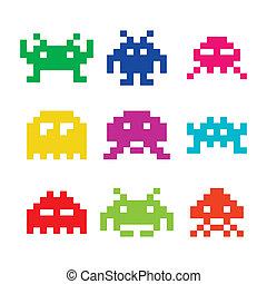 不同, invaders, 空間, 8bit, 圖象