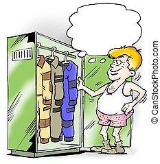 不同, jumpsuits, 在, 工作, 壁櫥