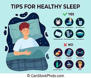 不眠症, 規則, ベクトル, イラスト, 人, 先端, 枕, 原因, よい, 健康, infographics., 睡眠...