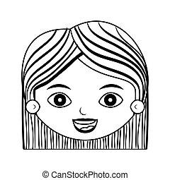 不足分, シルエット, 顔, 毛, 前部, しまのある, 女性