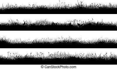 不足分, 牧草地, grass., シルエット, 水平なバナー
