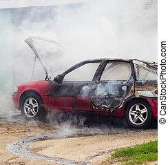 不足分, 自動車, 燃焼, ロット, 火, 煙, 回路