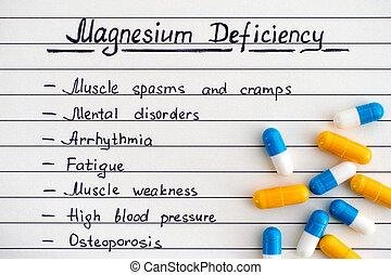 不足, pills., いくつか, マグネシウム, 徴候