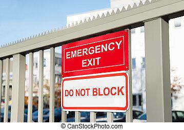 不, 出口, signboard, 塊, 緊急事件