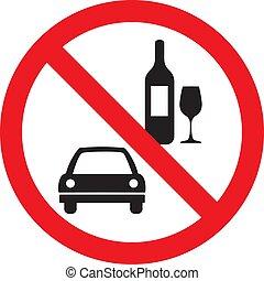 不, 喝酒和開車, 矢量, 簽署, 被隔离, 在懷特上, 背景