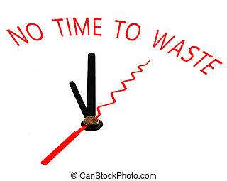 不, 時間, 到, 浪費, 鐘, 概念