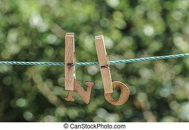 不, 詞, 寫, 所作, 垂懸, 木制, 信件, 上, 繩子, 在, 花園