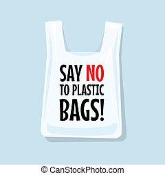 不, bags., 塑料, plastic08say