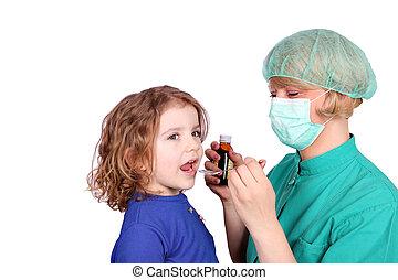 与える, わずかしか, 治療, 女の子, 医者