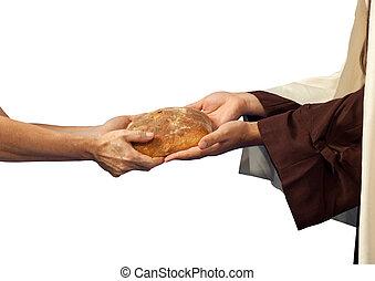 与える, beggar., bread, イエス・キリスト
