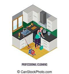 专业人员, 等容线, 打扫, 描述