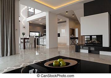专有权, 公寓, 在中, 现代, 风格