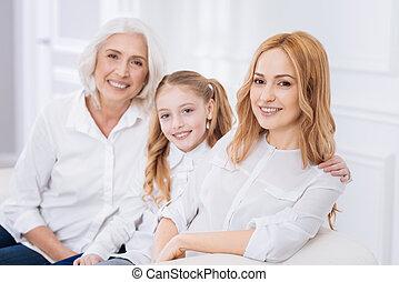 世代, 休む, 3, 家族, ソファー
