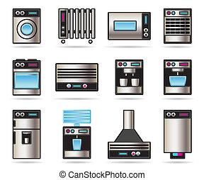 世帯, セット, 器具, アイコン