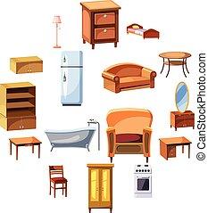 世帯, セット, 家具, 器具, アイコン