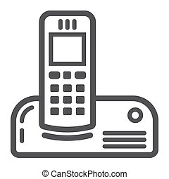 世帯, 器具, 電話, 無線, アイコン, 線